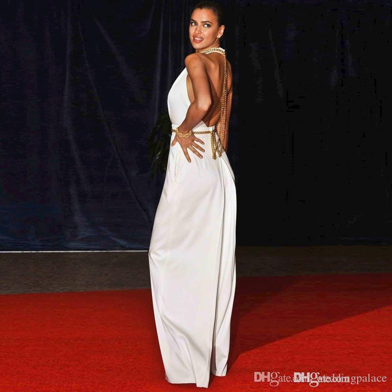 Long Evening Dresses Shark Jumpsuit Off The Shoulder O-Neck Halter Backless Sleeveless A-Line Floor-Length Celebrity Dresse New Fashion