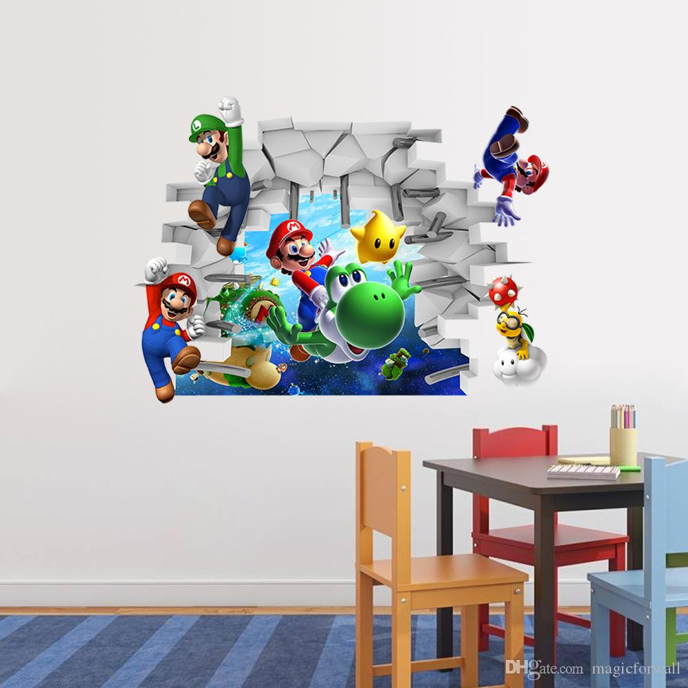 Kids room wall decor stickers - 3d Cartoon Wall Art Mural Decor Sticker Kids Room Nursery Wall Decal Poster Cute Brothers Break Through Wall Applique Graphic Wall Murals Decals Wall Murals