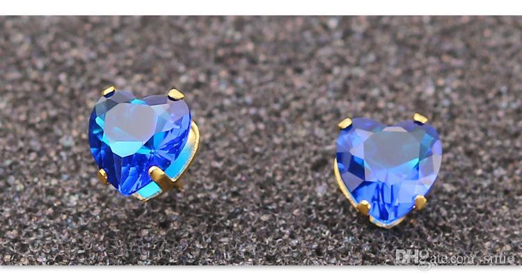 Mode 8mm Liebe Herz Zirkon Kristall Titan Stahl Ohrstecker Silber Edelstahl Ohrringe Für Frauen Schmuck