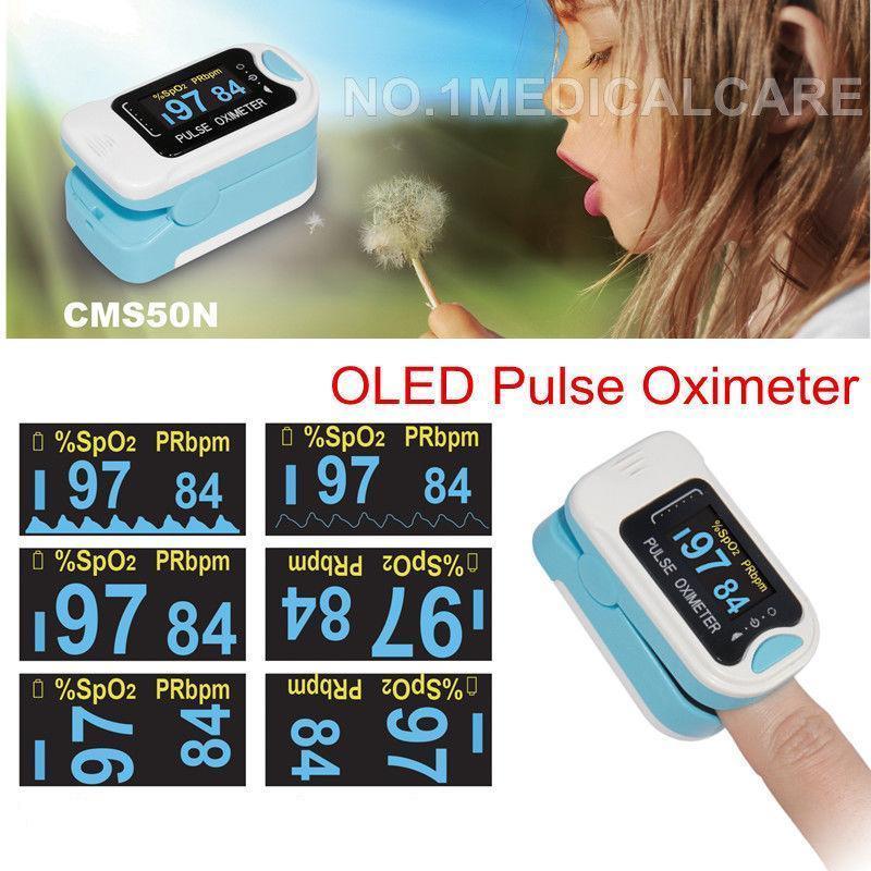 OLED-Pulso-Oxímetro-yema del dedo-sangre-saturación de oxígeno-SpO2-monitor-CMS50N