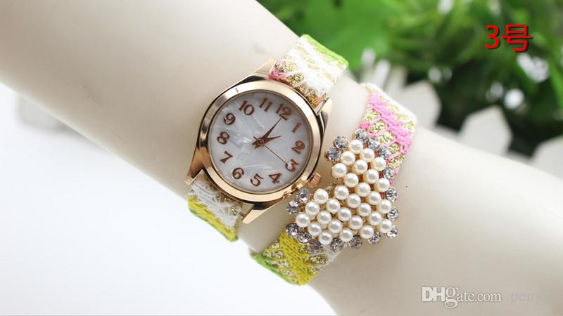 Wholesale Fashion Heart Bracelet Pearls Wrist Watches Colorful Strap Watches Creative Watches For Women Drop