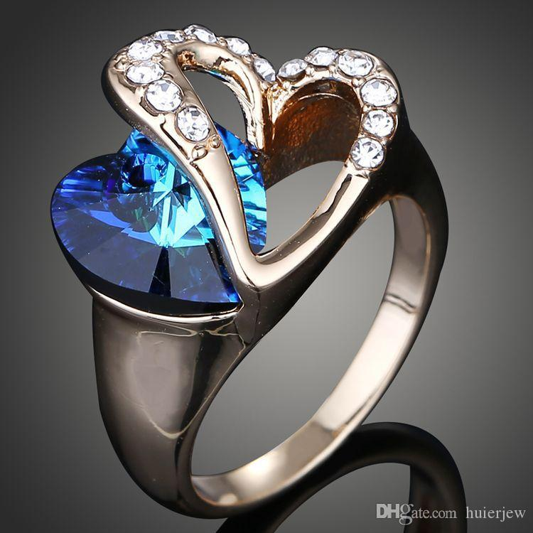 Anneaux de mariage Plaqué argent sterling 925 en cristal autrichien Anneaux de mariage Or blanc Cubic Zircon Diamant Saphir Pierres Précieuses Anneaux