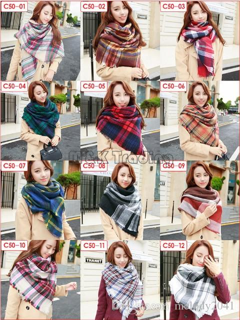 2017 الشتاء الخريف الأزياء الترتان بطانية وشاح مربع صوف الباشمينا النساء المعتاد كبير ثخن شال التفاف 12 ألوان
