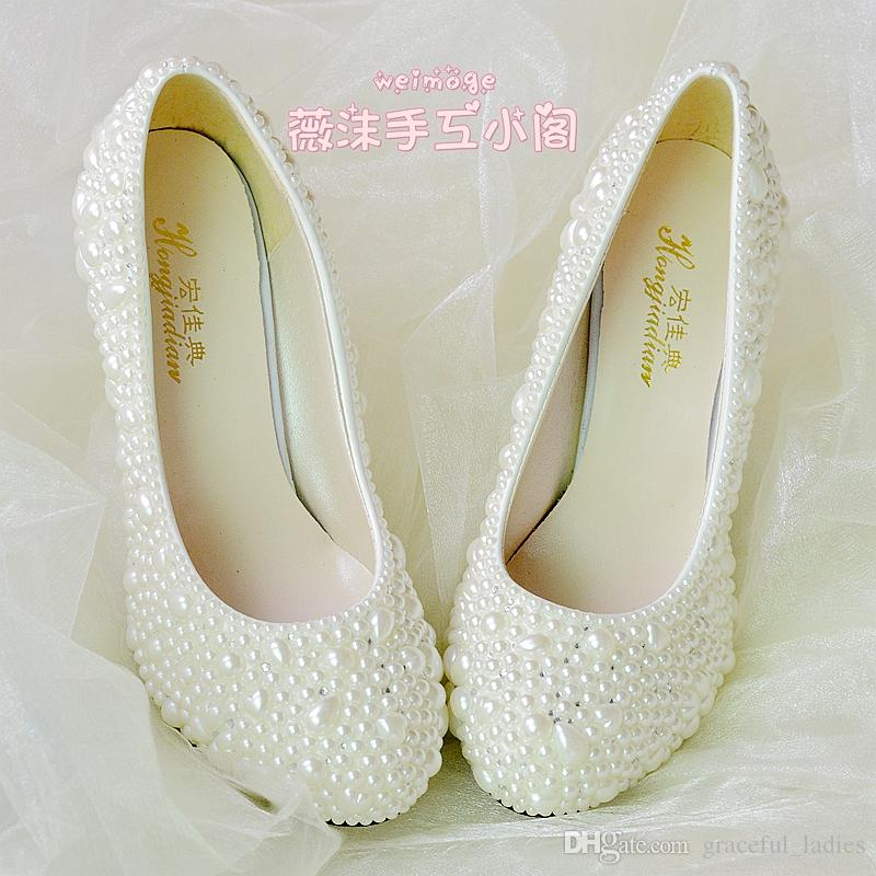 pearl wedding shoes handmade pearl wedding shoes 2015 new flat 4 5cm 8cm heel 6428