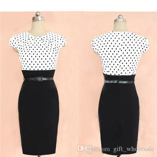 Wholesale - European and American star with stitching dresses, new cocktail pencil skirt, professional Party dress Work Dresses with belt
