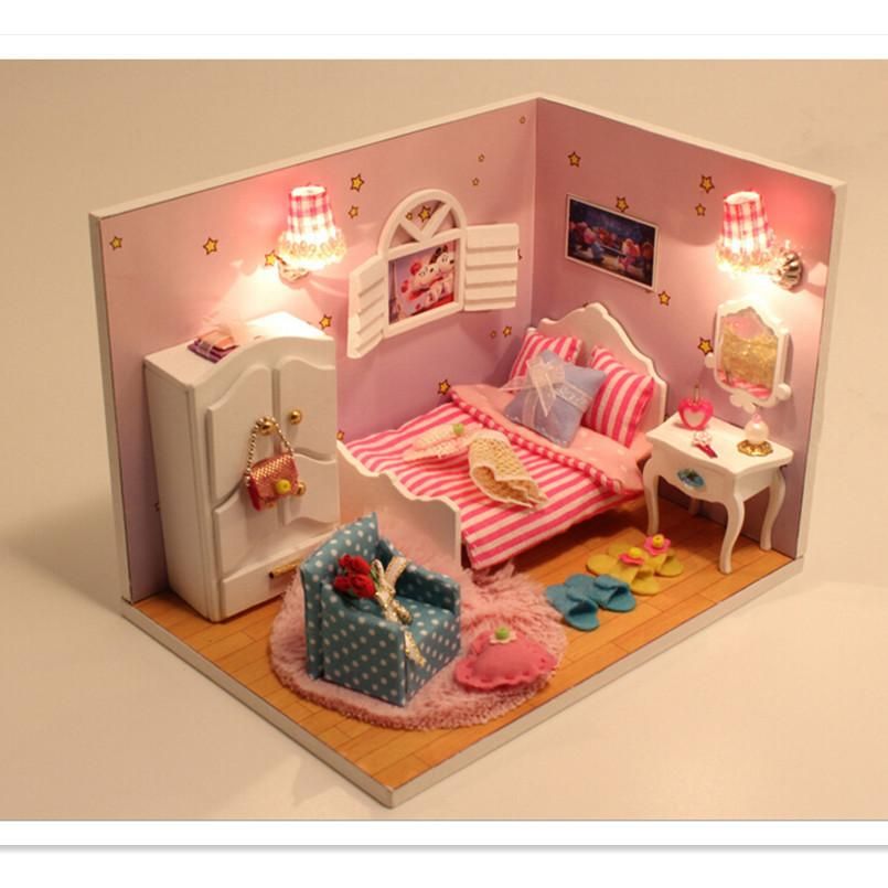New Doll House Toy Miniature Wooden Doll House Loft With: 2016 New Arrival Sweet Moment Dollhouse Miniature Toys For