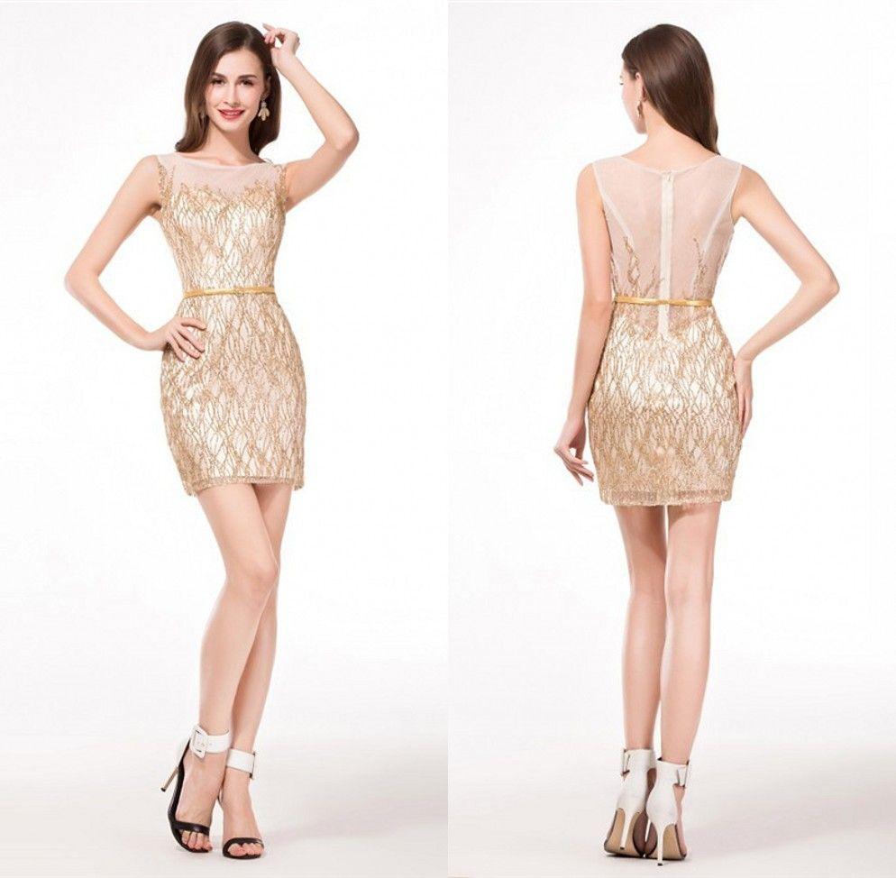 Cheap Prom Homecoming Dresses Sheath Golden Shiny See Through Tank ...