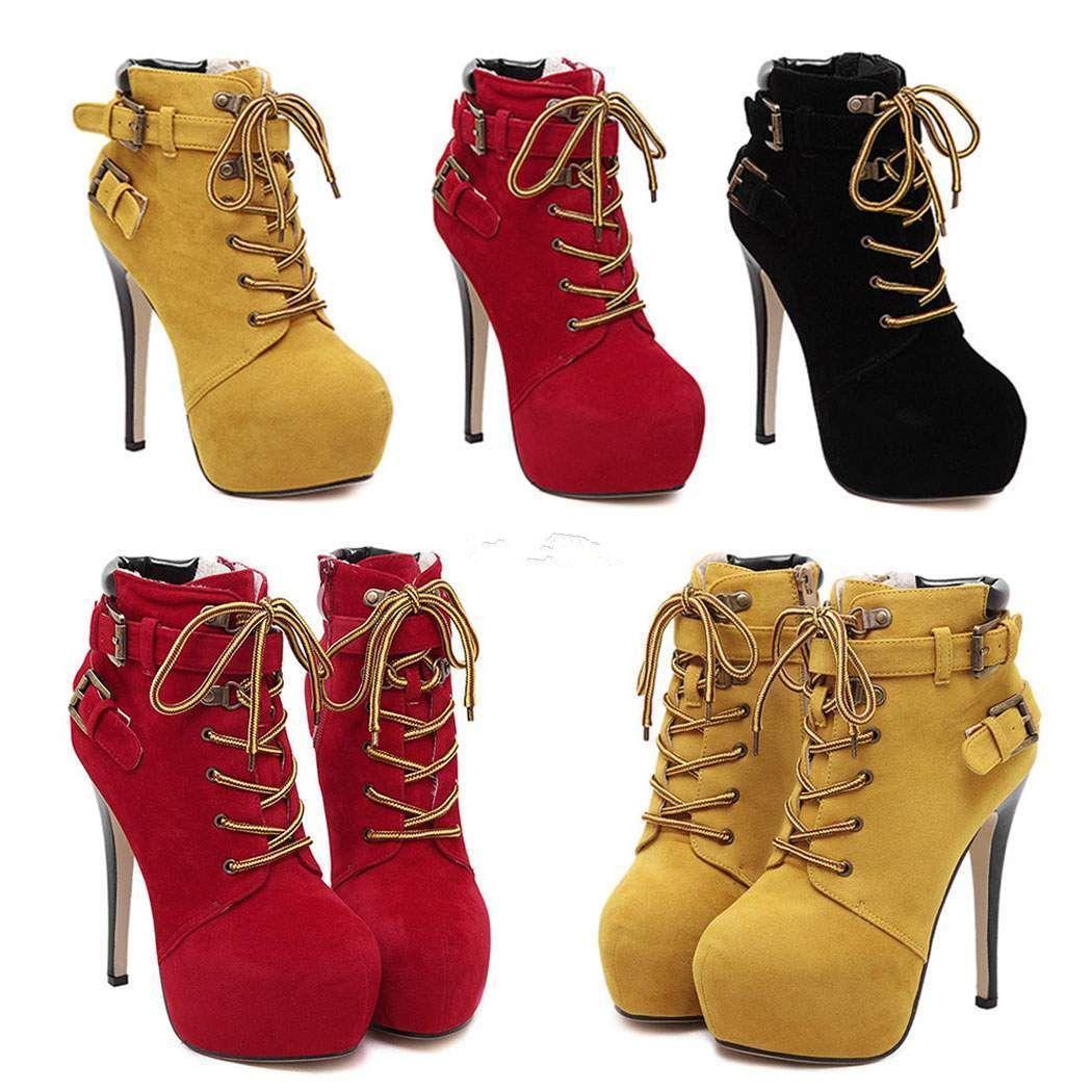 3835dd606de Trendy Stiletto Heel Platform Boots With Buckles Lace Up High Heels ...