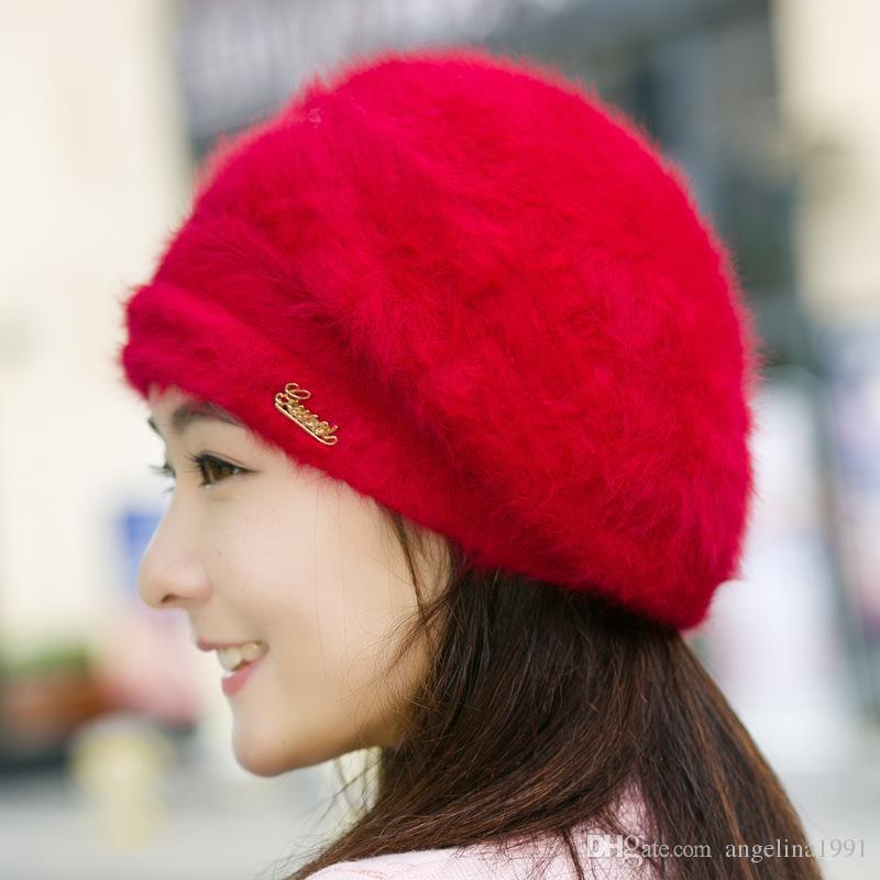 Top Quality Winter Warm Hat For Women Rabbit Fur Berets Fashion Flower Ladies Hats Boina Feminina beanie knitted wool caps
