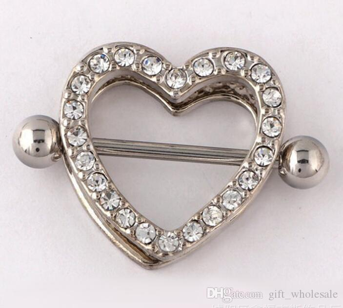 Mamelon bouclier anneaux haltères bijoux de corps amour coeur cercles doubles anneaux de mamelon sexy femme piercing bijoux piercing clip sur la tétine