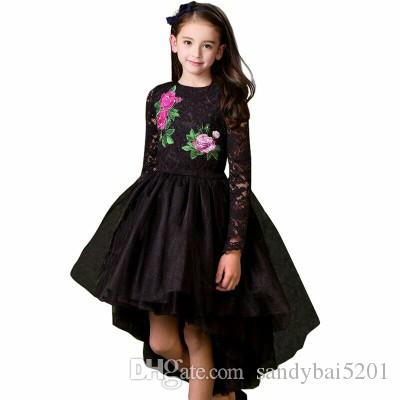 2b1b5da8a 2019 Kids Girls Lace Dresses Baby Girl Floral Embroidery Tail Dress ...