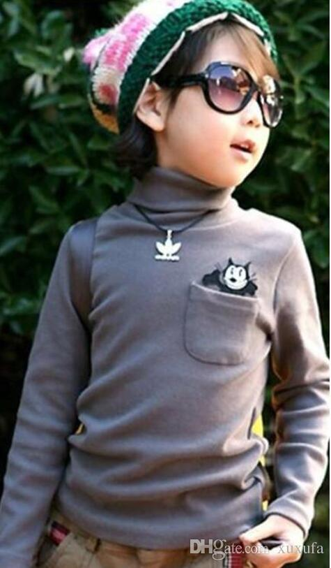 Neue 2018 Frühling Herbst Kleidung Großhandel Kinder Rollkragen Langarm-T-Shirt.