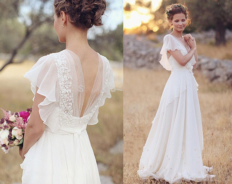 Discount Bohemian 2017 Wedding Dresses Pearls Deep V Neck Backless Bridal Flower Beading Sheer Sleeve Pleats Chiffon Colored
