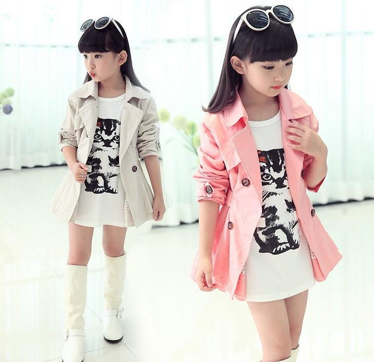 0a04d3cf0c34 Big Girls Turn Down Collar Double-breasted Belt Tench Coat Children ...