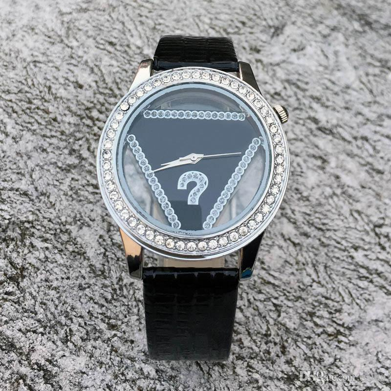 Fashion Brand women's Girl crystal triangle style dial leather strap quartz watch GS05