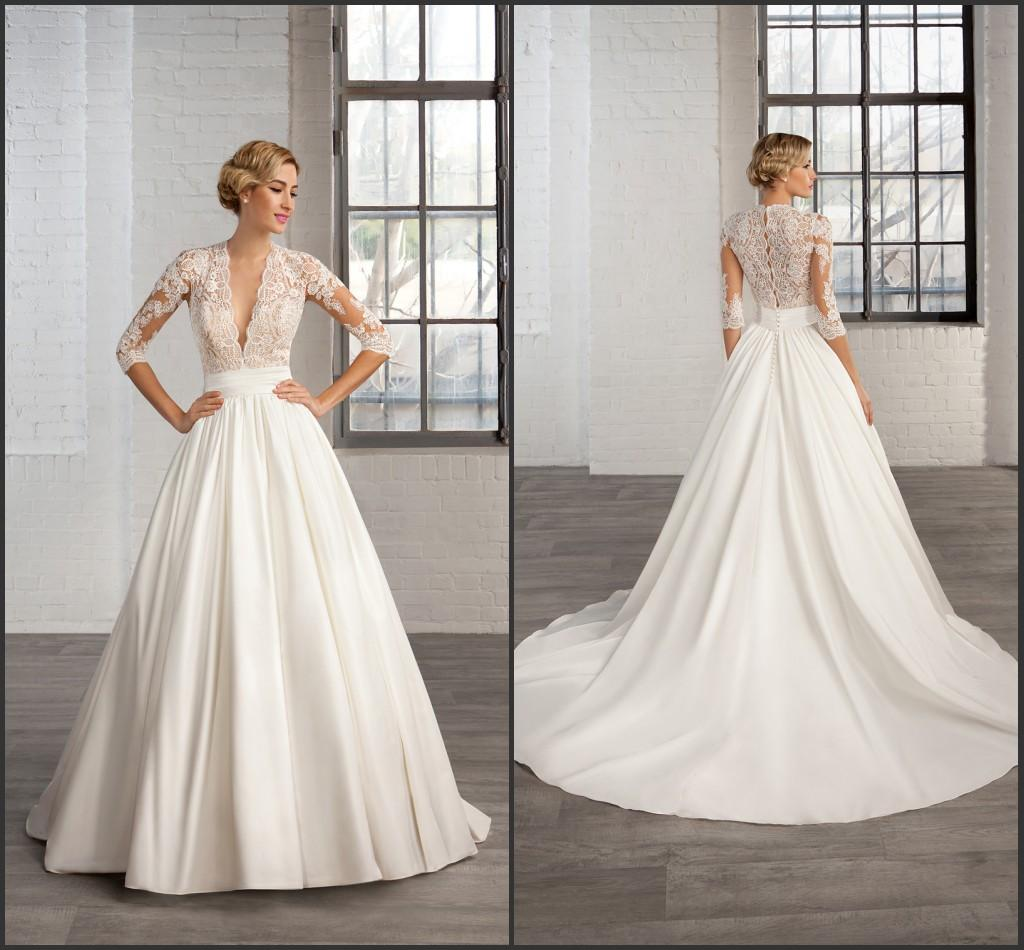 Cheap 2016 A Line Satin Wedding Dresses 3/4 Long Sleeve Sheer Deep ...
