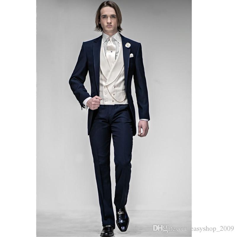 Morning Style Navy Blue Groom Tuxedos Best Man Peak Lapel Groomsmen Men Wedding Suits Bridegroom Men Suits Jacket+Pants+Vest