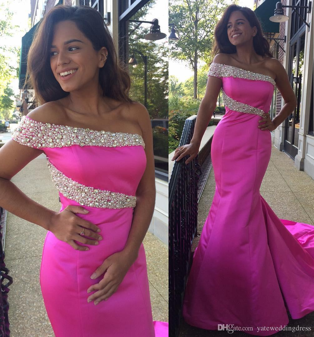 Hot Pink One Shoulder Prom Dresses Beaded Mermaid Evening Gowns Back ...
