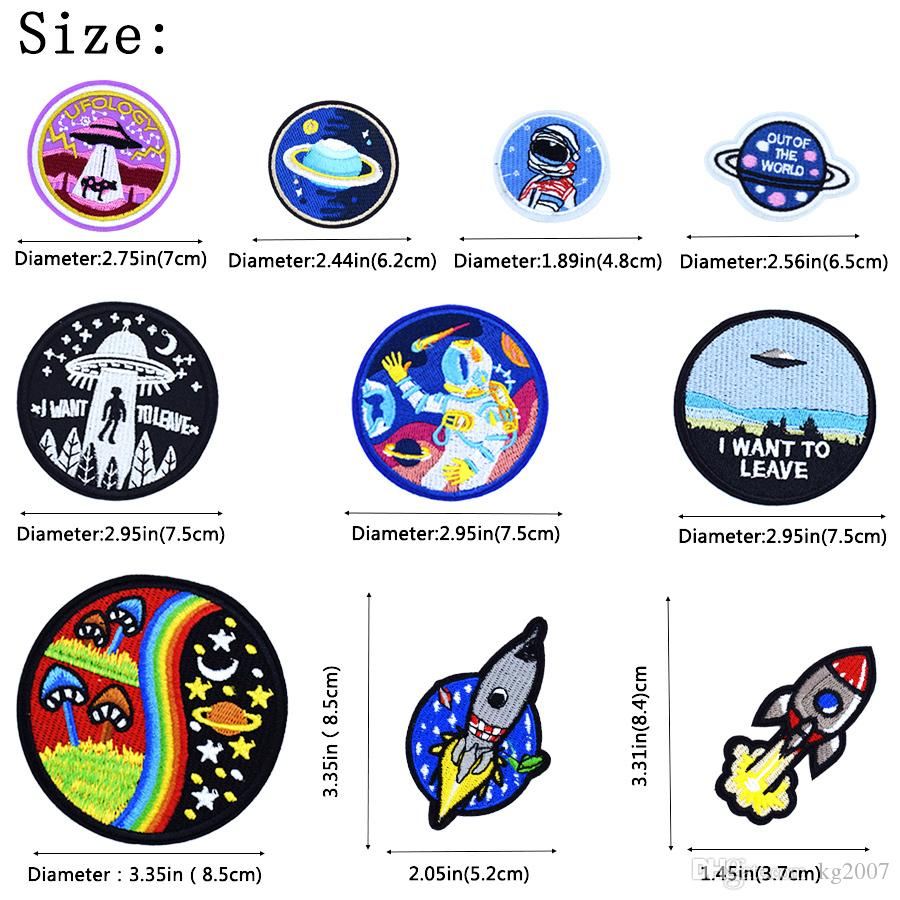 Universe Sew Embroidered Patches for Clothing Iron on Transfer Applique Space Patch for Jacket Bags DIY Sew on Embroidery Kids Patch
