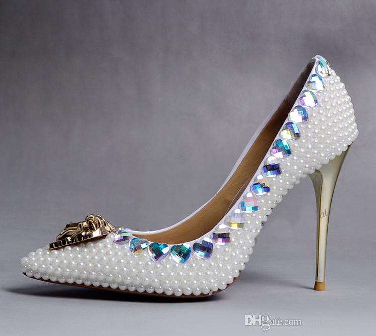 Mode sehr empfohlen Elfenbein Perle Kristall Hochzeit Schuhe für Brautschuhe wunderschöne Mode Bankett Party Prom Kleid Schuhe