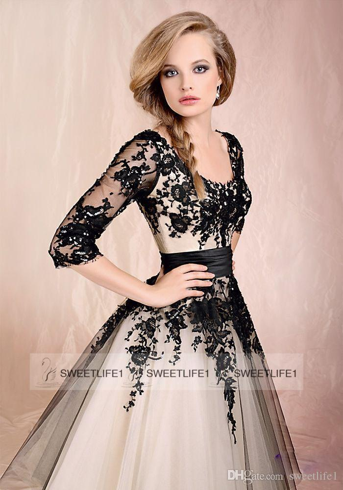 In Stock 2015 Scoop Tea Length A Line Tulle Lace Embroidery 3/4 ...