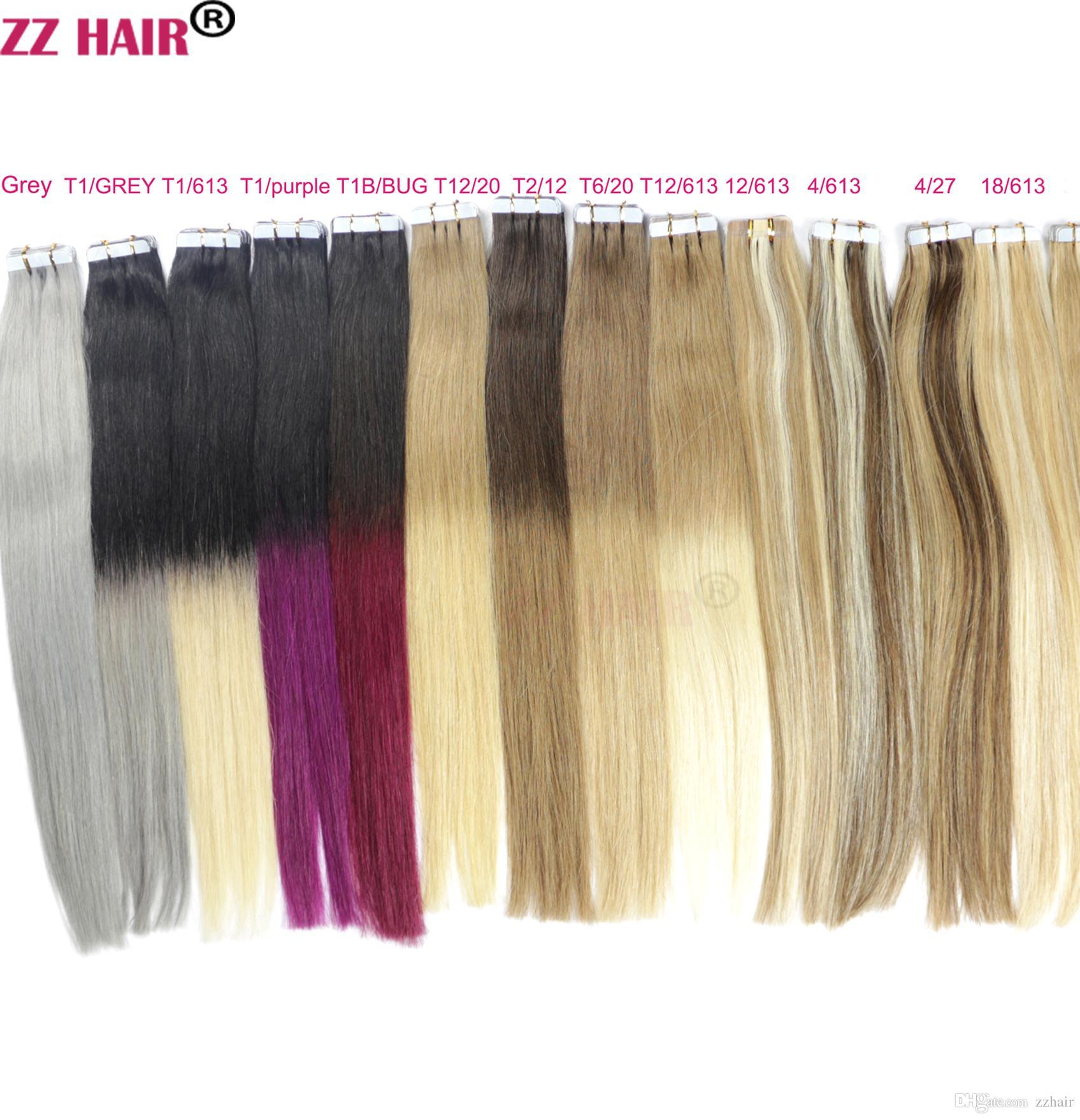 Zzhair 14-24 인치 100 % 브라질 테이프 레미 인간의 머리카락 확장 / 팩 접착제 헤어 스킨 웨스트 30G-70G