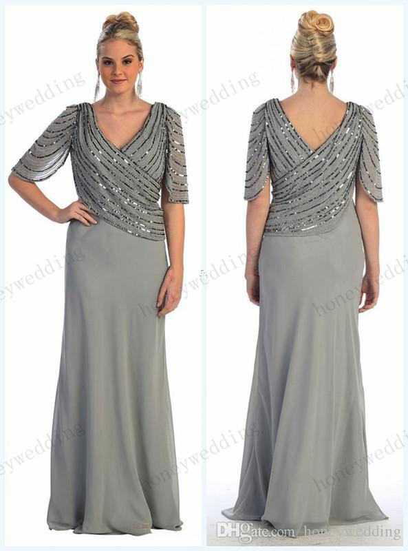 db944f9b2c 2019 Spring New Arrival Plus Size Beading Chiffon Mother Of The Bride  Dresses V Neckline Half Sleeve Sheath Floor Length Mother Dress Summer  Mother Of The ...