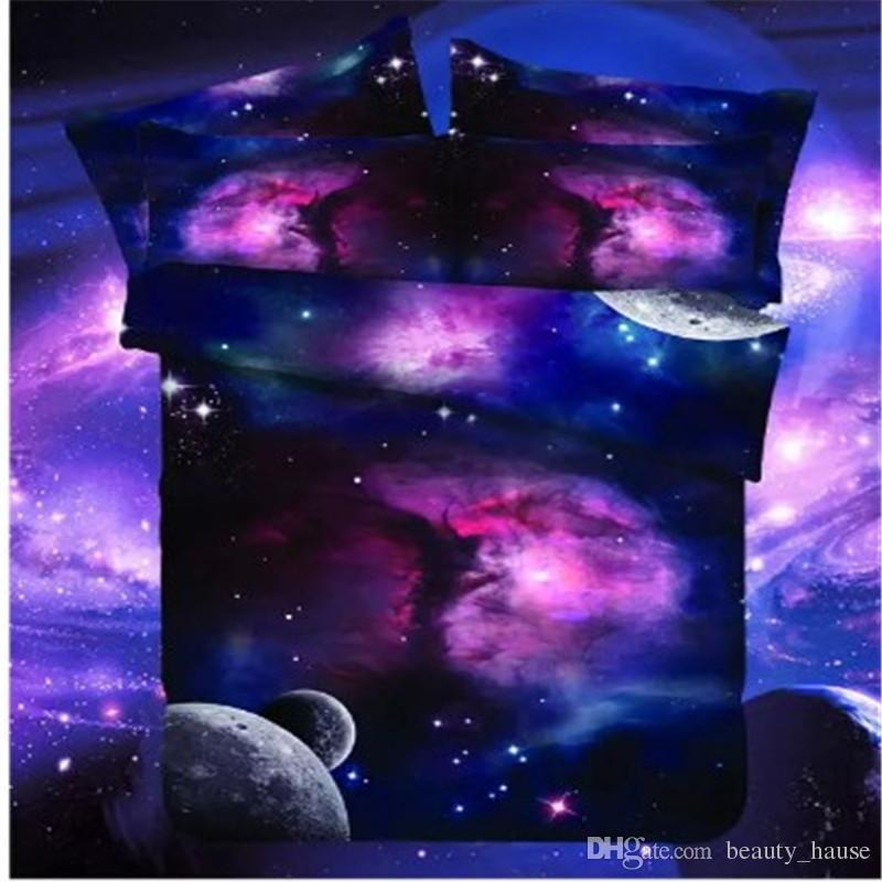 3D Colorful Planets Purple Sky Men's Boys Cálido Juego de Cama de Invierno Regalo, Impresión Reactiva Funda Nórdica Conjunto Textiles Para El Hogar Suministros
