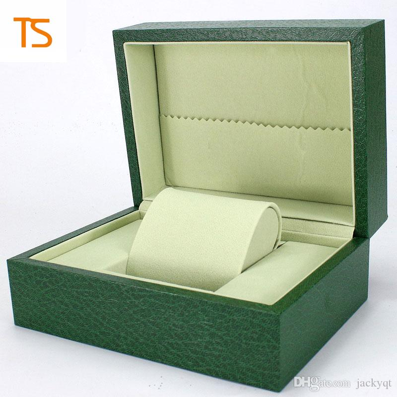 Factory Supplier Luxury Gift Box Green Original Watches Boxes Mens Watch Leather Box With Brochures Cards Free Shipping