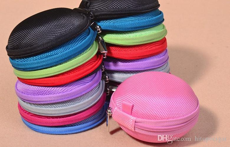 Portable Mini Round Hard Zipper Sport Earphone Cable Carrying Pouch Storage Case Bag for Earphone Headphone SD TF Cards Cable Cord Wire