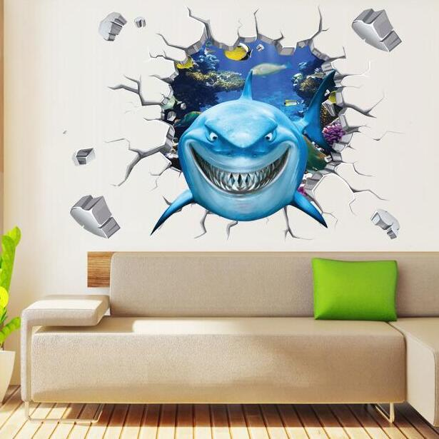 scenery wall sticker removable cartoon sea shark fish wall decals for kids rooms child wallpaper 3d art decals free shpping removable wall decals for living