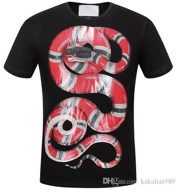 95c0c53b6 Best Sell King Snake Print Italia T-shirts Top High Quality Cotton ...