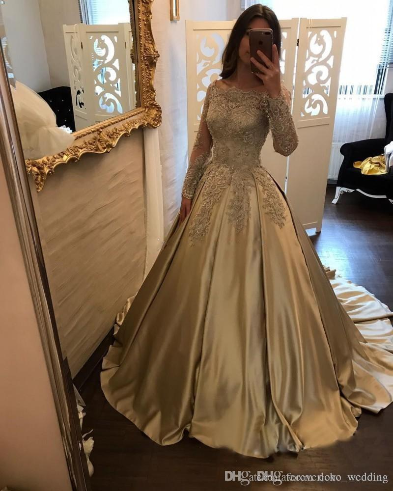 Gold Ball Gown Prom Dresses Formal Long Lace