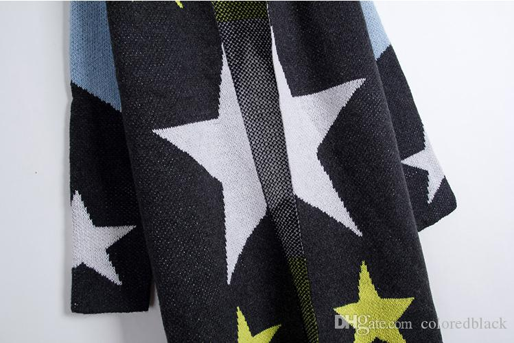 Europe And America Women Knitted Cardigan Sweater Long Sleeve New Fashion With Five-pointed Star Print Casual Outwear Jackets