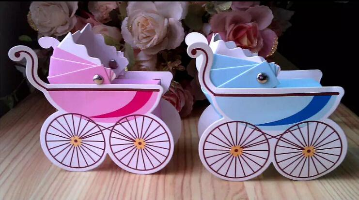 100 قطع طفل عربة حفل زفاف استحمام الطفل لصالح هدية الشريط علب حلوى مربع