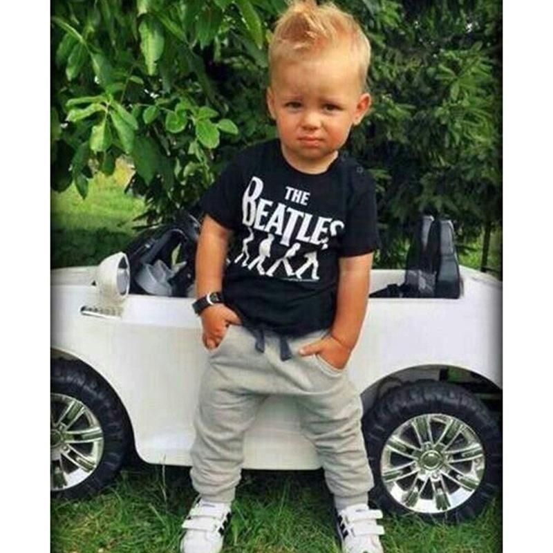 Çocuklar 2 ADET Erkek Set Avrupa Birleşik Devletleri Bebek Çocuk Çocuk giyim 2018 Sıcak Satış İngilizce Harfler Baskı T-shirt + Eğlence Pantolon