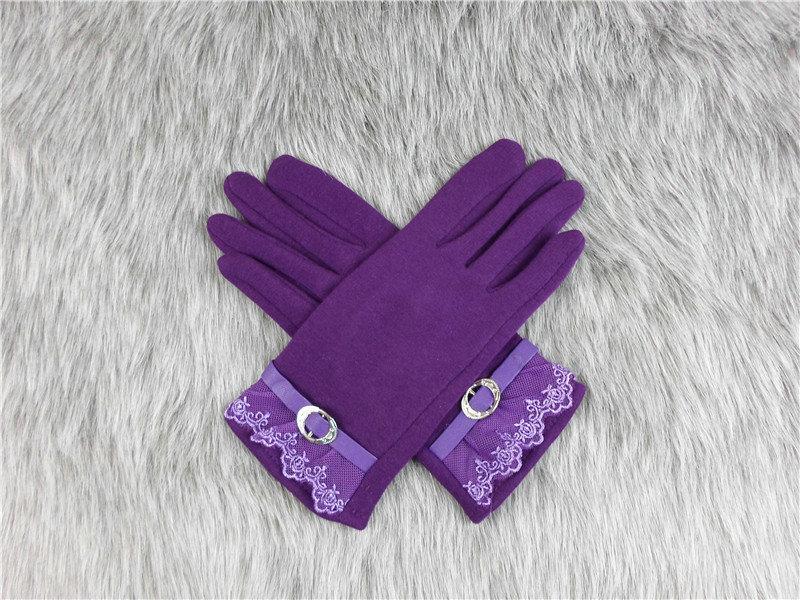 Gants femmes hiver chaud coton dentelle écran tactile Bouton mignon Décor solide adulte cachemire Inverted Gants