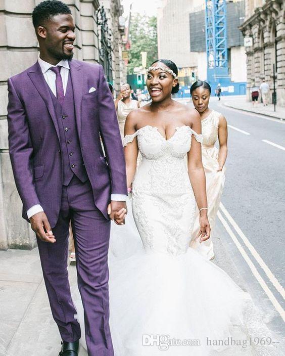 Style classique un bouton violet marié smokings pic revers garçons d'honneur meilleur homme blazer mens costumes de mariage veste + pantalon + gilet + cravate H: 623