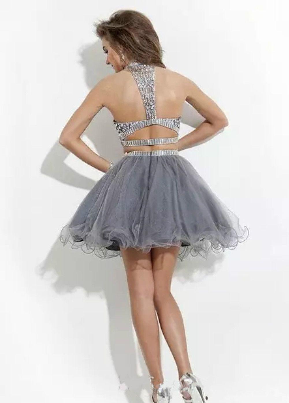 2018 Seksi Mezuniyet Elbiseleri A-line yüksek boyun tül Süslenmiş iki parça Gelinlik Modelleri boncuklu mezuniyet Elbise Rachel Allan Yeni stil LA147