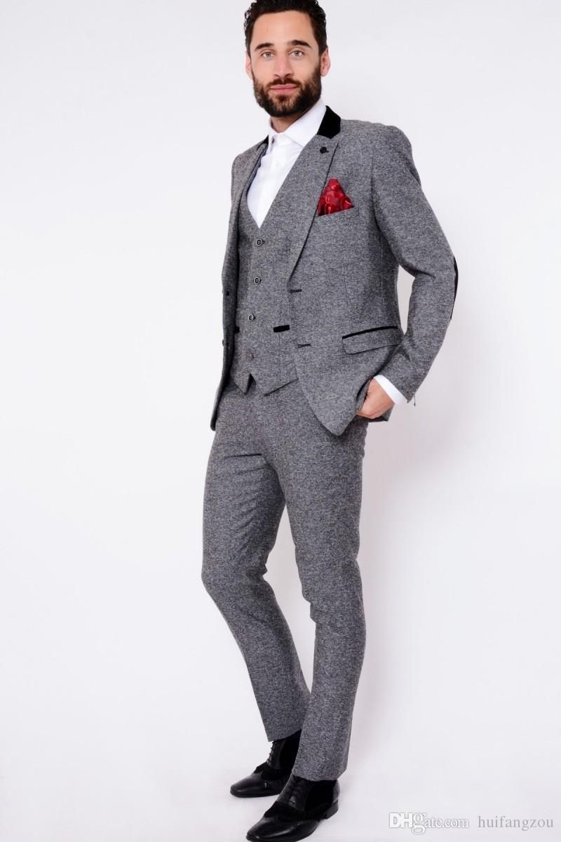 Custom Made Dark Grey Mens Suits Fashion High Quality Wedding Suits For Men Winter Warm Groom Tuxedos For Best ManJacket+Vest+Pants