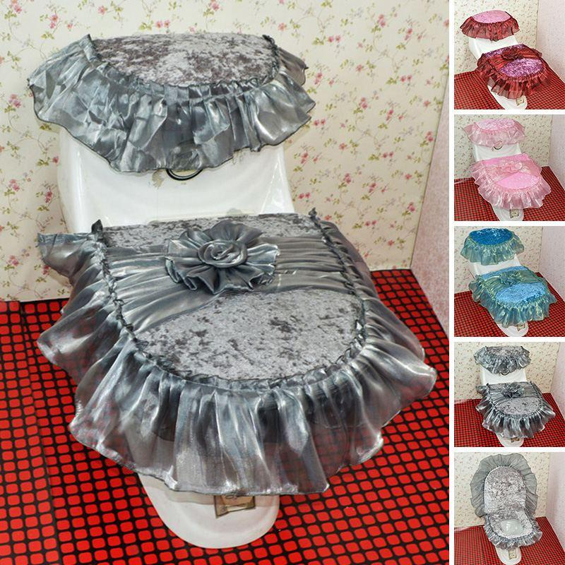 Best Quality New Arrival Three Piece Set Lace Toilet Seat Cover U