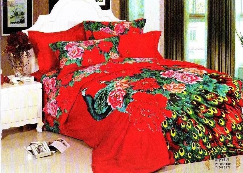 Peacock Bedding Set Red Queen Size Doona Quilt Duvet Cover
