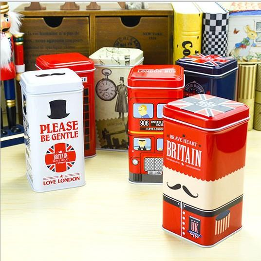 2018 British Style Phone Booth Tin Metal Box Vintage Tea