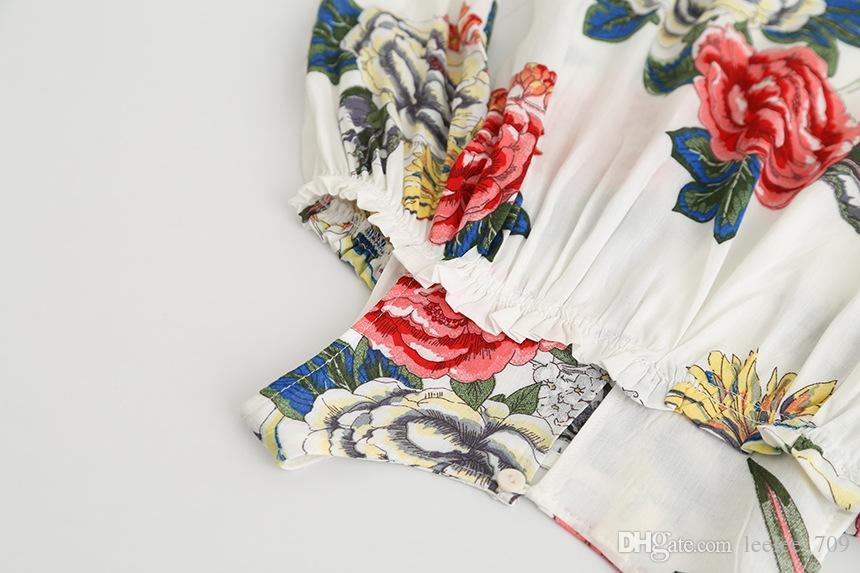 2017 Automne Floral Filles Robe Fleur Imprimé À Volants Épaule Enfants Princesse Dress Doux Enfants Coréens Tops C1895