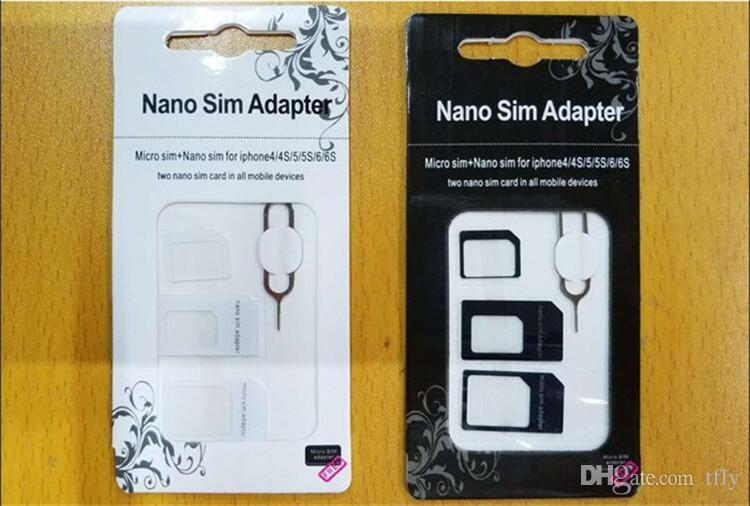 Hot NOOSY Nano Conversão Conversão de Cartão Micro Sim Padrão4 em 1 Adaptador Nano Sim Micro Cartão sim Para Iphone 6 Plus Todos Os Dispositivos Móveis S10