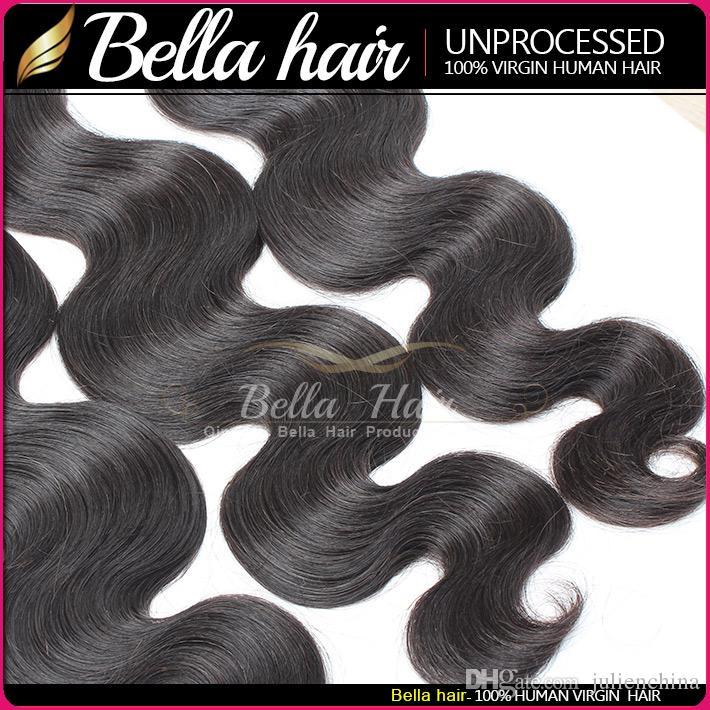 Bellahair®人間の髪染め可能な漂白剤9Aバンドルペルー織り伸び伸びの自然な黒い色の二重緯糸