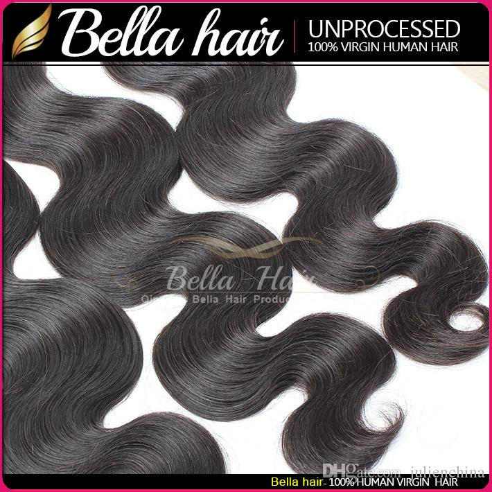 BellaHair® Human Hair Dyeable Bleachable 9A Bundles Peruvian Weave Extensions Natural Black Color Double Weft