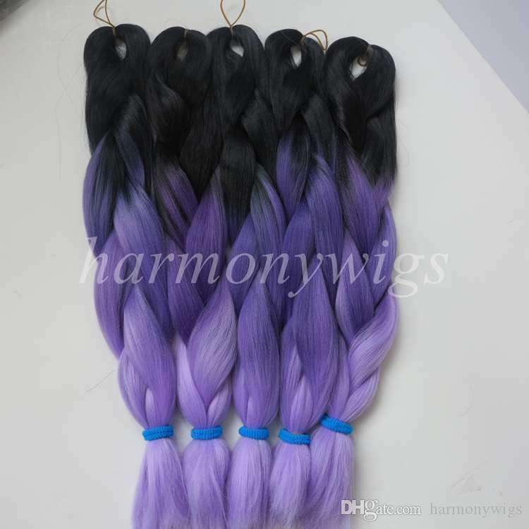 Kanekalon Synthetic Jumbo Braiding Hair 20 24inch 100g Black&Gray&Light Purple Ombre three tone colors Hair Extensions optional