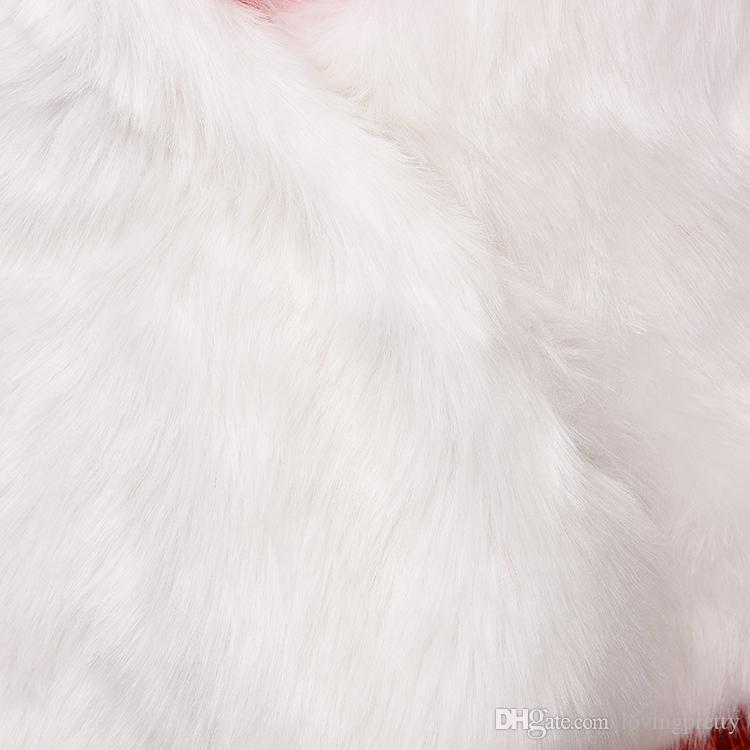Jane Vini 2018 Winter Faux Fur Wraps e scialli la cerimonia nuziale Bianco da sposa caldo donna Fake Fur Girls lungo Boleros Jacket Stole Capes