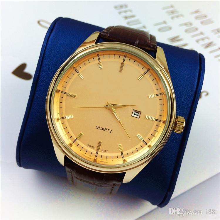 Compre Artículos Calientes Relojes Para Hombres Cuero Genuino Moda Big Dial  Negocios Cuarzo Caballero Reloj Regalos Accesorios Relojes De Marca Mujer  Caja ... d67124ad9993